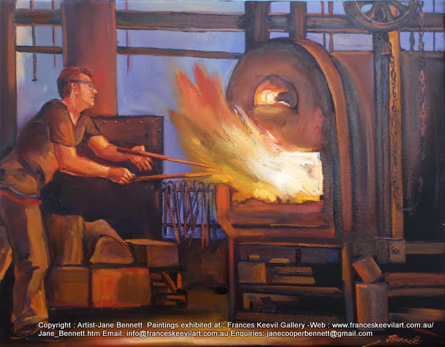 oil painting of blacksmith at Australian Technology Park, Eveleigh Railway Workshops by industrial heritage artist Jane Bennett