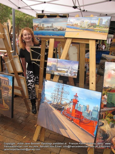Artist Jane Bennett with her Pyrmont paintings at the 2011 Pyrmont Festival