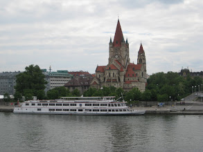 Photo: Vienna: Our hotel was a few blocks from Franz von Assisi Kirche.  River cruise boats dock here on the main channel of the Danube.