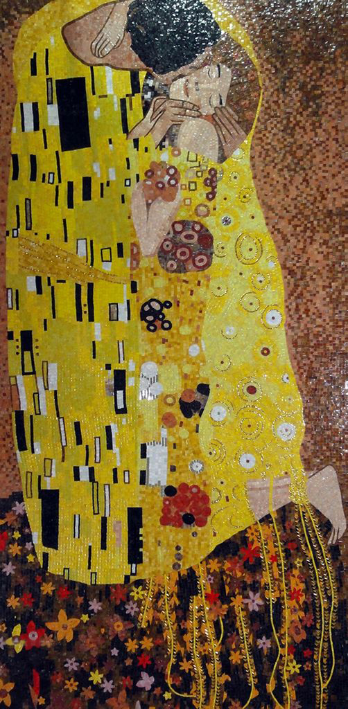 """ The Kiss"" by Gustav Klimt Mosaic Reproduction"