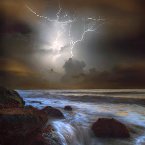The lightning by Mohamad Sa'at Haji Mokim - Landscapes Weather ( thunder, lightning, sea, storm, landscape )