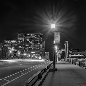 Boston Mass at Night by Paul Gibson - Uncategorized All Uncategorized ( night photography, boston, starbursts, black and white, light trails, long exposure,  )