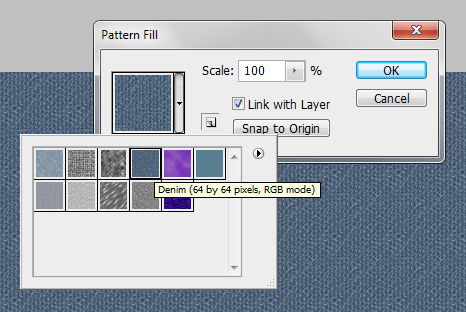 Ajustes da New Fill Layer > Pattern