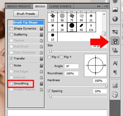 Desative a opção Smoothing (Suavização) no pincel da ferramenta Smudge