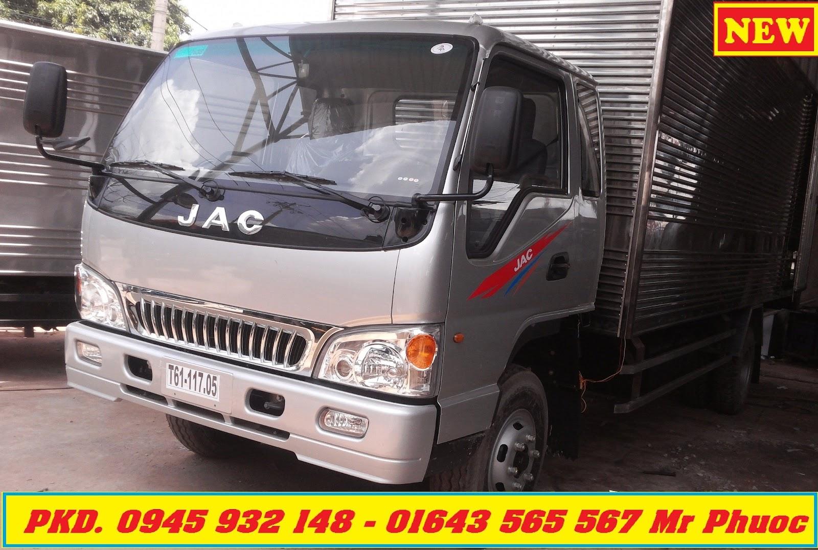 xe tải JAC 4.9 tấn thùng mui bạt thế hệ mới, xe tải JAC HFC1061 K3 4t99 có máy lạnh tặng trước bạ