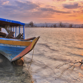 Boat And Sun by Hindra Komara - Landscapes Sunsets & Sunrises ( water, indonesia landscape, waterscape, black and white, morning glory, yellow, landscape, boat, morning, sun, landscape city, water scape, mountains, blue sky, sky, tree, nature, blue, background, landscape background, landscapes beautiful )