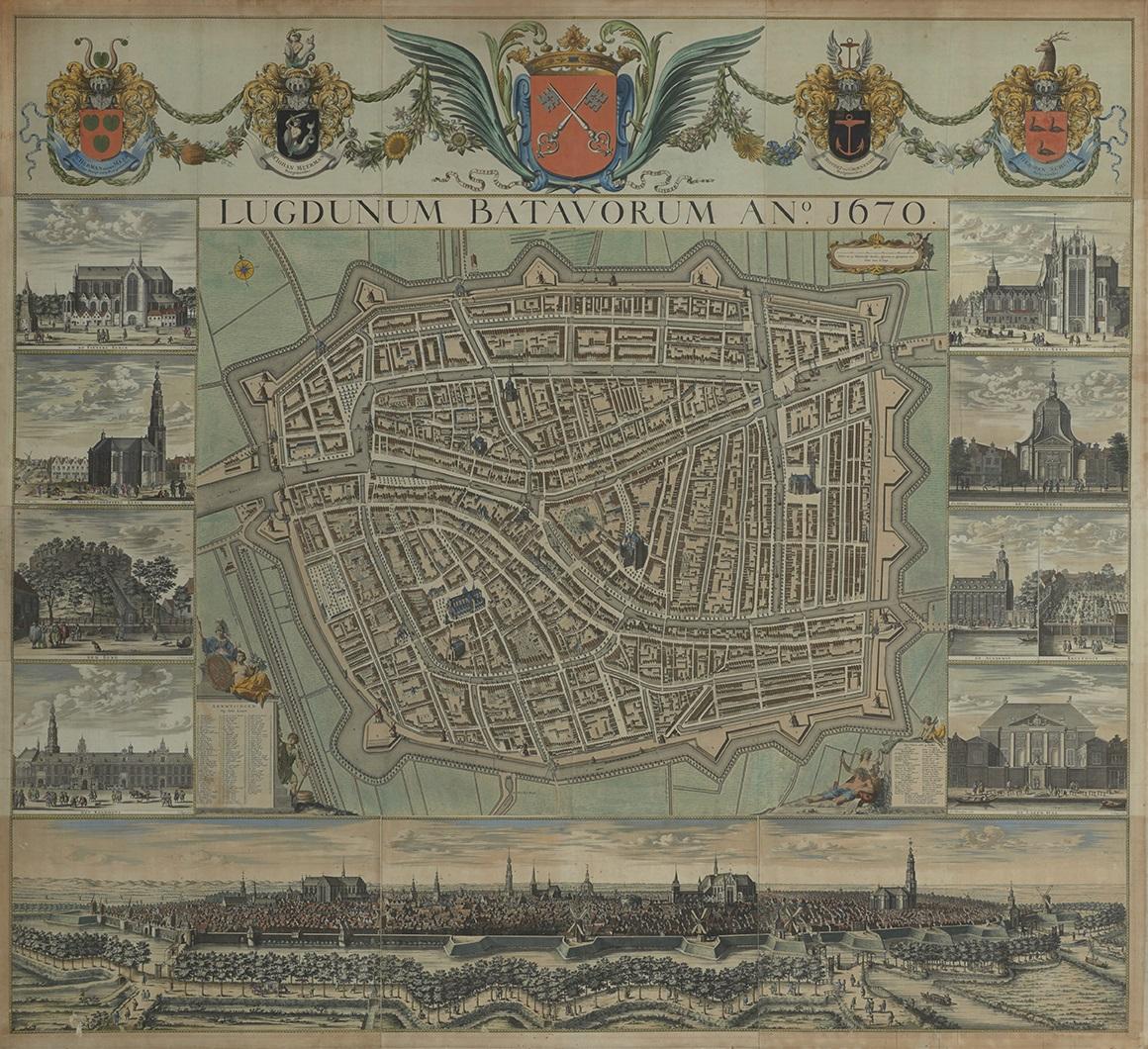 """""""De grote Hagen,"""" gravure, plattegrond van de stad Leiden, 1670"""