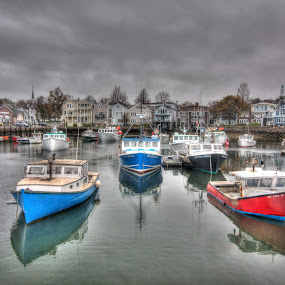 Rockport Harbor by Michael McMurray - Landscapes Waterscapes ( harbor, village, new england, cape ann, lobster boat, massachusetts, rockport, fishing boat, fishing port )