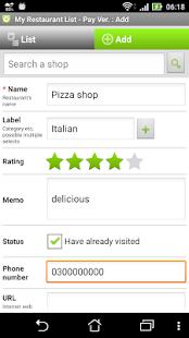 My Restaurant List - PayVer - náhled