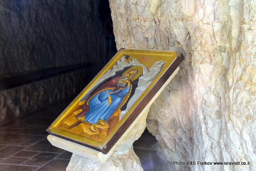 Икона Илья Пророк.  Монастырь Георгия Хозевита в Иудейской пустыне. Вади Кельт, Израиль.
