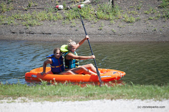 Photo: Two young girls kayaking at Burton Island State Park by Tara Schaltz