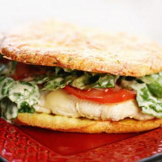 Chicken Caesar Sandwich with Cheesy Herb Cloud Bread.