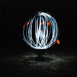 Floating Globe by Micah Lopez - Abstract Light Painting ( globe, floating, red light, long exposure, white light )