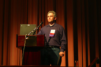 Photo: Bjorn Freeman-Benson introducing the next keynote address, EclipseCon 2004