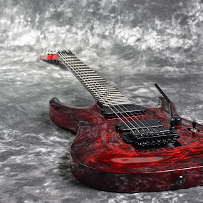 red seven-stringed electric guitar  on white-gray background by Jan Gorzynik - Artistic Objects Musical Instruments ( concert, body, tuner, jack, wood, neck, rock, equipment, stage, roll, band, metal, acoustic, musician, pick, classic, black, music, isolated, pickup, audio, neckjoint, electric, hobby, white, play, shape, instrument, heavy, entertainment, electronic, maple, rod, seven, red, wooden, classical, rosewood, sound, instrumental, string, background, volume, guitar, bridge )