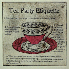"Photo: Tea Party Etiquette, 8 x 8"", etching with chine colle"