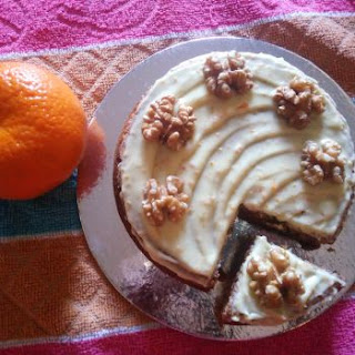 Carrot And Orange Walnut Cake.