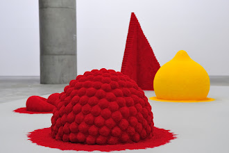 "Photo: Title of this piece of art is ""To Reflect an Intimate Part of the Red (1981)"". Inspired by colorful pigments used in rituals and festivals in Hindu temples, this is one of Anish Kapoor's series of pigment works. The forms (of this piece) appear to have sprouted organically from the ground; like the tip of an iceberg, they allude powerfully to an invisible world beneath."