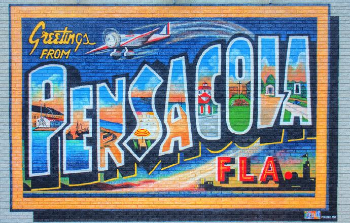 pensacola mural greetings postcard