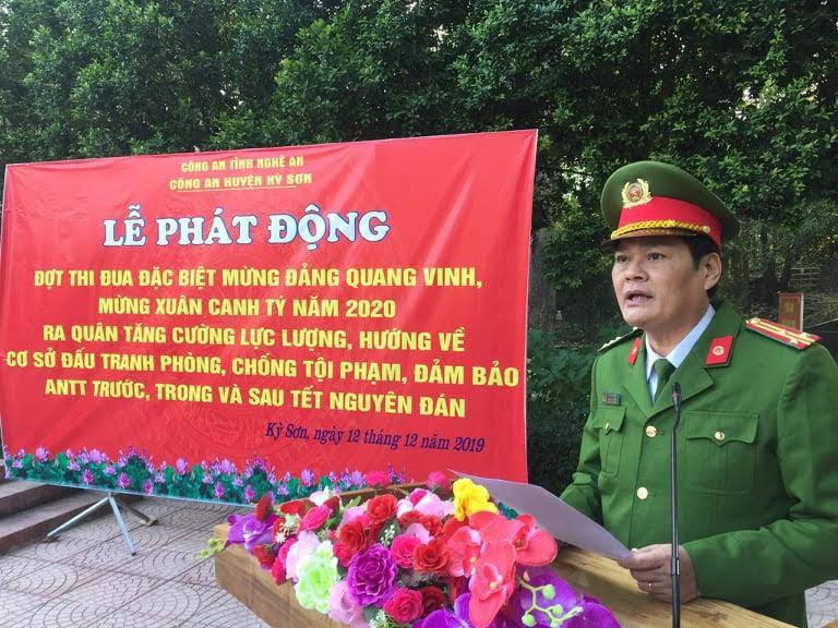 Thượng tá Tô Văn Hậu, Trưởng Công an huyện phát biểu tại Lễ phát động