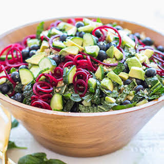 Kale Salad with Quinoa and Blueberries.