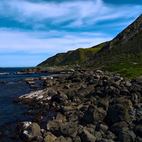 Seaside HDR by Aram Becker - Landscapes Mountains & Hills ( sky, mountain, hdr, sea, stones, rocks )