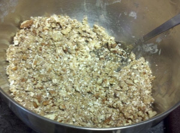 In a medium bowl, combine the oats, brown sugar, flour and cinnamon. Cut in...