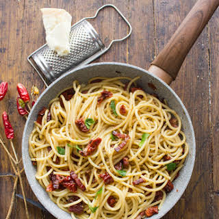 Spaghetti with Sun-Dried Tomatoes and Pancetta.