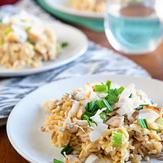 Curried Chicken Orzo Salad with Mango Chutney.