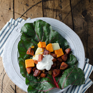 Gluten Free Chorizo, Sweet Potato and Swiss Chard Wrap