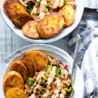 Paleo Beef, Veggie, and Bacon Bowls with Plantains {Whole30}.