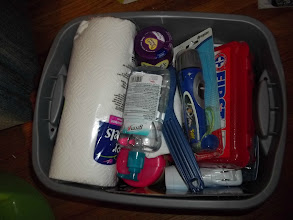 Photo: This is our filled to the brim winter emergency kit.  Ready to go to the pregnancy center - almost.