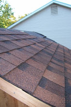 Photo: Here's a close up of the shingles. I really like the varied brown colors in these shingles. Once I have the shed stained, I think the roof will look fantastic with the color of the wood.