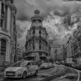 Madrid by Chris Seaton - City,  Street & Park  Street Scenes ( historic, street, downtown, madrid, black and white )