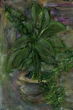 """Photo: 'The House Plant, 2', 3rd draft, 21cm x  29cm, 8"""" x 11.5"""", 2012, Moleskine folio Sketchbook, oils.   Where it ended up. Dark, gloomy. It's the black. Most artists don't use it at all. It's very hard to work with. Oh, ok as an outline or as some clothing or a hair colour or to efface a section... but if I start with a black background rather than white I always run into problems. Even though coming from nothing, arising out of the blackness, works for me metaphorically, in paint... it's been most challenging. I had hoped my relation to black had changed and so I began optimistically with a black background (brushed, not fully opague), but it hasn't changed."""