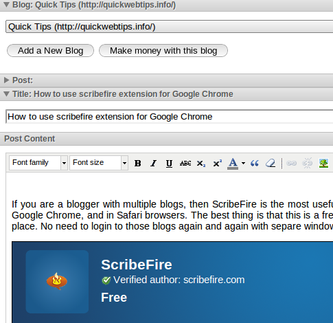 How to Use ScribeFire in Google Chrome