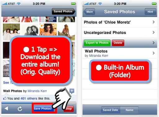 Download Facebook Photo Album to iPhone