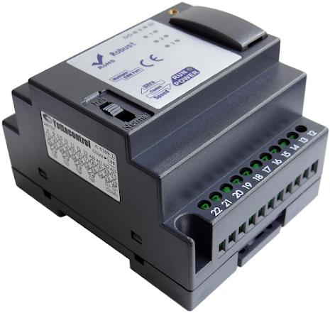 PLC med 8 DI, LED indikering, 4 moduler, 4 reläutgångar, 10-30VDC