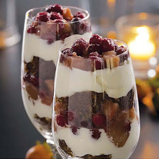 Ginger Cake Trifles with Caramelized Apples, Cranberries & Whipped Cream.