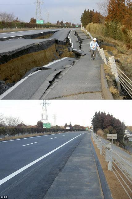 Japon: Carretera reparada SEIS días despues del terremoto.