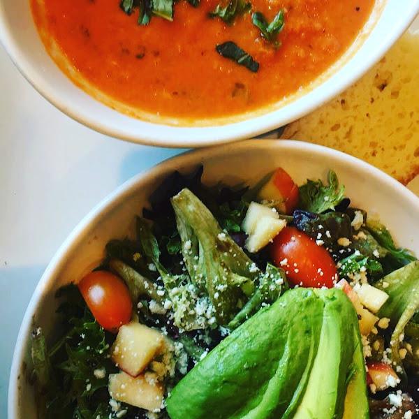 Super yummy Soup and Salad combo w/Gluten free foccocia bread! Delish and so filling.