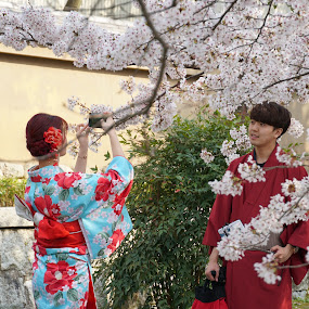 Love anda Cherry Blossom by Mylene Rizzo - People Couples ( kyoto, sakura, cherry blossoms, flowers, japan )