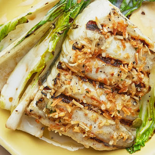 Grilled Halibut and Bok Choy with Coconut-Lime Dressing.