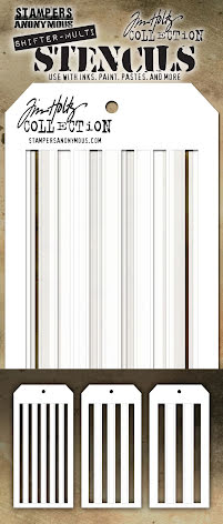 Tim Holtz Layered Stencil Set 3/Pkg - Shifter Multi Stripes THSM03