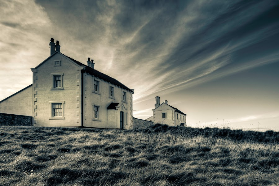 Remote Cottages by Mike Shields - Landscapes Cloud Formations ( clouds, sky, penmon point, trinity house. black & white, cottages, HDR, Landscapes )