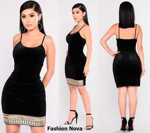 Vestido ajustado arriba de la rodilla en terciopelo de tiras vendido en Fashion Nova