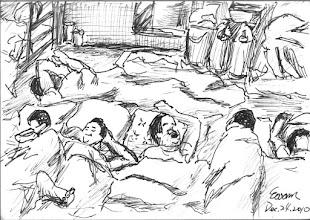 Photo: 平安夜2010.12.24鋼筆 平安夜裡,舍房內的收容人們在溫暖的被窩裡睡得安詳,走道上值班的我,在寒風中感受著受涼後處在發燒臨界的體溫…
