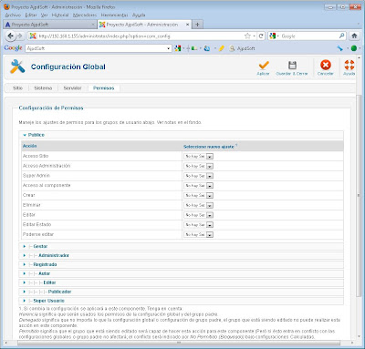 Administrar Joomla! 1.6.3, añadir artículos, noticias, usuarios, configuración global