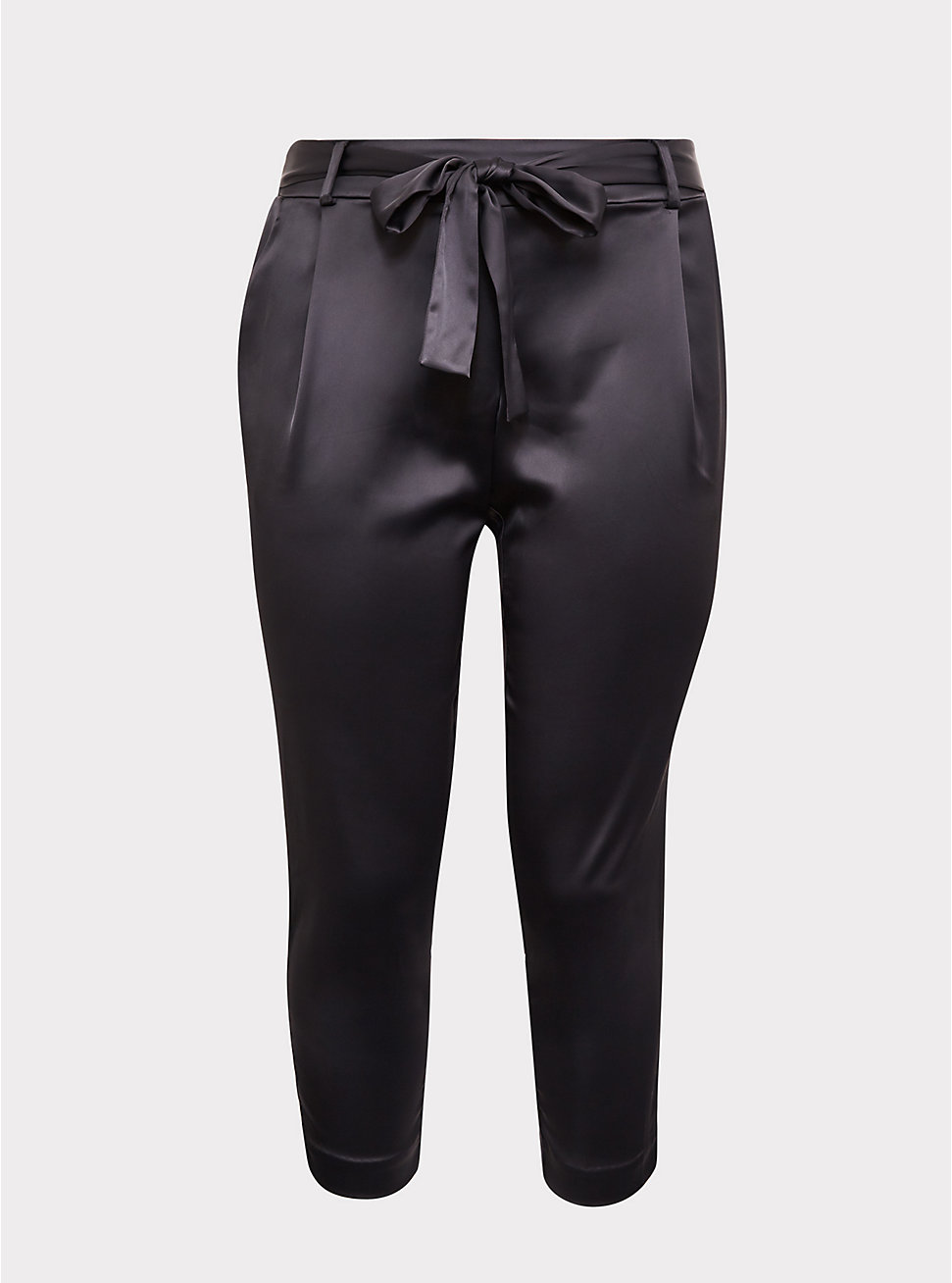 Dark Grey Satin Tie-front Cigarette Pant