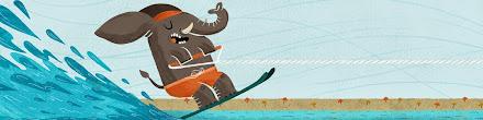 Dibujo de elefante haciendo ski acuático